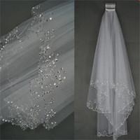 2017 nuovi veli da sposa romantici con pettine corto bianco / avorio elegante accessori da sposa perline di lusso perline bordo 2 strati veli da sposa