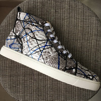 New 2017 Mens Womens Gray printing Snakeskin Leather High To...