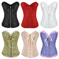 Free shipping!! Gothic Brocade Corset Black With Zipper Fron...