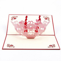 Tarjeta de la tarjeta estereoscópica 3D Hueco hacia fuera la tarjeta de invitación de regalo de la historieta Día de San Valentín Tarjeta de la boda de la boda Tarjeta creativa del trabajo artesanal