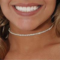 Di buona qualità girocollo in cristallo strass regalo gioielli moda spiaggia scintillante in oro 18 carati / 925 collane in argento trendy accessori per feste