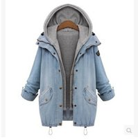New Coats Autumn Women Casual Two Piece Hoodied Jean Coat Pl...