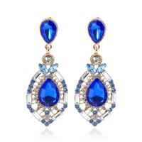 2021 Günstige Hochzeitszusätze Mode Rhinestone Schmuck Diamant Braut Ohrringe Auf Lager Kostenloser Versand grün blau