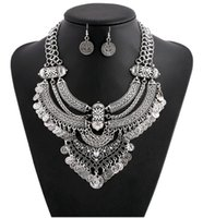 Fashion Statement Jewelry Set Vintage Tassel Coins Chunky Chain Choker Collar Earrings Necklace Sets for Women