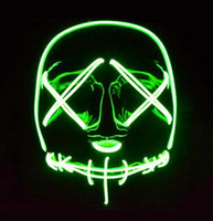 Teen Adults EL wire Neon led luminous mask Horror grimace bl...