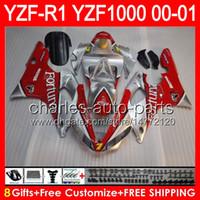 8gifts Körper für YAMAHA YZF R1 00 01 YZF1000 YZF-R1 00-01 Fortuna Silber 91NO10 YZF 1000 YZF-1000 YZF R 1 YZFR1 2000 2001 Silber rot Verkleidung
