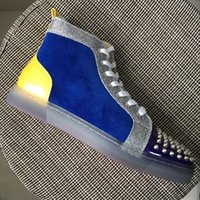 New Mens Womens Blue Leather Patchwork with Spikes Toe Trans...