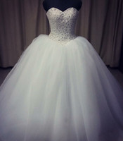 Beaded Crystal Ball Gown Wedding Dress Lace Up 2017 Romantic...
