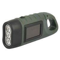 Solar Torch flashlight  Hand Crank Rechargeable Power Light Lamp 3 LED camping