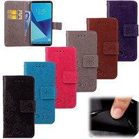 beautiful clover PU wallet Case with credit card slot Flip F...