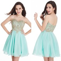 Designed Short Homecoming Dresses Gold Lace Appliques Sweeth...