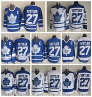 Darryl Sittler Toronto Maple Leafs Hockey Jersey Vintage CCM Classique # 27 Darryl Sittler Jersey cousu Jersey pas cher C Pas cher C Patch