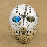 LINSION 925 Sterling Silber Halloween Jason Maske Blau + Grün CZ Augen Herren Jungen Biker Rock Punk Ring 9D404 US Größe 7 ~ 15