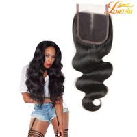4x4 кружевные замыкания 100% необработанные бразильские волны тела человеческие волосы лучшее кружевное закрытие свободная часть средней части три части