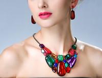 Damen Schmuck Sets Metall Geometrischen Geometrischen Edelstein 2 Farbe Option Choker Chunky Statement Anhänger Lätzchen Halskette Ohrring Schmuck Set