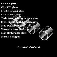 CP CP2 Merlin RTA RDTA 24 Lite 40 Depósito modin 25 Cigpet eco12 Mad Dog Veco plus 4ml Mad Hatter Pyrex Tubo de repuesto de vidrio DHL