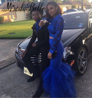 Prom 2K17 Royal Blue Two Piece Mermaid Celebrity Red Carpet Dresses Lace Long Sleeves Tulle Floor Length Formal Evening Gowns