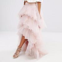 ゴージャスなライトピンクチュールスカートの層状ティアードふくらんでいる女性チュチュスカート安いフォーマルパーティーガウンハイローロングスカート習慣