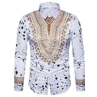 Ethnischen Stil Herrenhemd Mode Männlichen 3D Floral Retro Langarmshirts Slim Fit Casual Dress Shirts