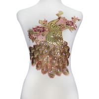 1 pieza de diamantes de imitación con cuentas Applqiue lentejuelas Peacock encaje apliques bordados tela de encaje parches accesorios de prendas de vestir T2243