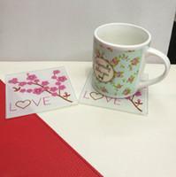 Großhandel Hochzeit wegnehmen Geschenke Kirschblüte Klarglas Cup Coaster Tischset Tasse Matte Casamento Kinder Geburtstagsparty 20 stücke (10 sets)