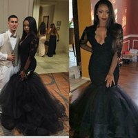 African Black Mermaid Prom Dresses 2017 Sexy Lace Beaded Deep V-neck Long Sleeves Formal Evening Party Vestidos Tulle Trumpet Train