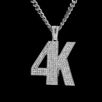 Men Hip hop Jewelry New 4K Letter Necklace Pendant Full Iced...