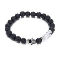 Perle di preghiera di pietra lavica naturale braccialetto di perline Hamsa Charms mano fatima braccialetto di palma donne uomini moda anti-fatica gioielli regalo diffusore