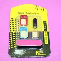عالية الجودة 5 في 1 أدوات نانو سيم كارد بطاقة محولات + مايكرو سيم بطاقة SIM لفون 4G / 5G / 6G مع صندوق البيع بالتجزئة