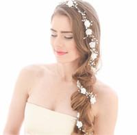 Casamento de Noiva Flor Longa Faixa de Cabelo Cadeia Headband Cristal Rhinestone Crown Tiara Headpiece Headpiece Jóias Pérola Princesa Rainha Hairband