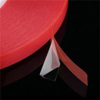 Cinta adhesiva de doble cara adhesiva de acrílico fuerte de PET para película de PET rojo sin rastro para la pantalla LCD del teléfono del coche