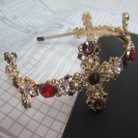 Moda colorido cristal cruzado hairbands para las mujeres cabeza joyería 2017 correas de la venda del oro tiara nupcial boda accesorios para el cabello Bijoux