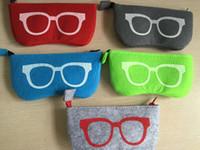 Colorido Requintado De Lã De Feltro De Pano De Óculos Caixa De Óculos De Sol Das Mulheres Caixas Crianças Saco Com Zíper 20 Pçs / lote Frete Grátis