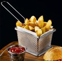 Gıda Sınıfı Mini Cips Fritöz Sepeti Paslanmaz Çelik Fritöz Hizmet Gıda Sunum Sepeti Mutfak Patates Kızartması Sepetleri