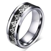 Blandstorlekar och stilar grossist Silver Masonic Symbol Inlay Tungsten Carbide Ring Mode Smycken Ring för Finger Mens Style