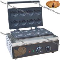 Ücretsiz Kargo Ticari Kullanım Yapışmaz 110 v 220 v Elektrikli 8 adet Mini Balık Waffle Japon Taiyaki Demir Baker Makinesi Maker Kalıp Plakası