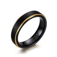 Groothandel Cool Simple Heren Zwart Gouden Ringen Topkwaliteit Tungsten Staal Staal Mannelijke Vinger Ring Party Bruiloft Mode Sieraden Ring Geschenken