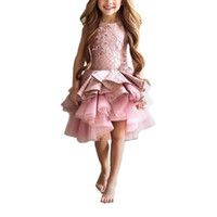 2017 Short Blush Enfants Little Girls Pareant Interview Costumes Pink Puffy Girls Robe de promesse Enfants Tulle Enfants Robes de soirée