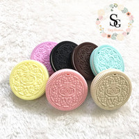 15 pcs mixed colors oreo, chewing silicone biscuit teether, s...