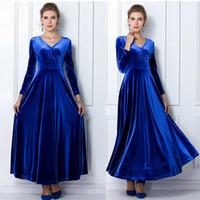 Al por mayor-invierno mujeres más el tamaño de terciopelo vestido de manga larga Maxi vestido fiesta de noche vestido de la vendimia negro azul verde púrpura Vestido Longo