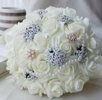 25cm Rose Künstliche Perlen Brautstrauß Braut Blumen Hochzeitsstrauß Seidenband New Buque De Noiva