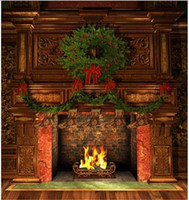 Indoor Fireplace Christmas Photography Backdrops Vintage Fur...
