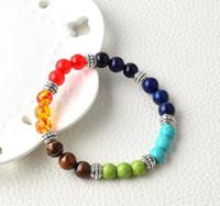 piedra de ágata natural amatista bolas de piedra de venta de joyas de tigre pulsera siete chakras yoga piedra pulsera de energía