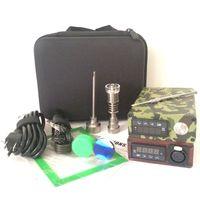 Taşınabilir E dab tırnak kiti elektrikli dab nail rig E D elektronik dabber kutusu PID TC kontrol Titanyum Kuvars Tırnak balmumu kuru ot