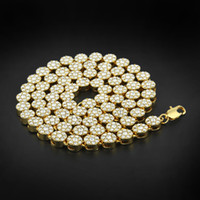 Hommes Hip Hop Bling StonevJewlery 24K SOLID GOLD PLAQUÉ MIAMI LINK Chaînes Chaînes Brillant Rond Full Crystal Strass Long Collier