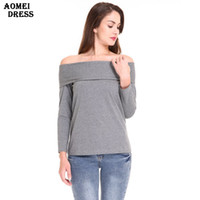 Cotton T Shirt Off the Shoulder Tops for Women Gray Color Lo...