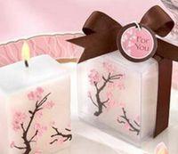 100pcs bougies de mariage sans fumée fumée de cire Sakura fleurs de cerisier bougie bébé garçon douche baptême faveur et cadeau