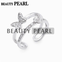 5 Pieces Double Band Ring Base Butterfly Zircon 925 Sterling...