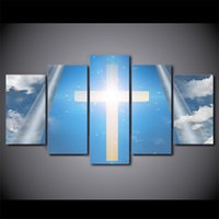 HD Printed 5 Piece Canvas Art Christian Cross Blue Sky Painting Framed Wall Pictures For Living Room Free Shipping