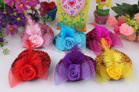Gioielli di moda capelli delle clip dei bambini della neonata mini cappello di capelli della piuma della Rosa Top Cap Lace fascinator accessori Costume copricapo piumato cappello 7CM